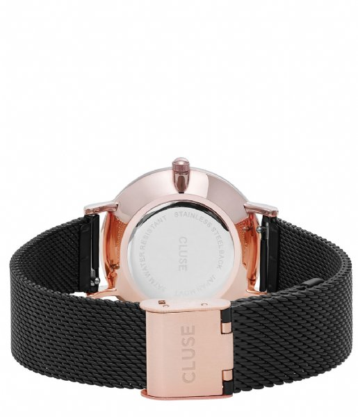 CLUSE Horloge Minuit Mesh Rose Gold Plated Black rose gold plated black black (CW0101203024)