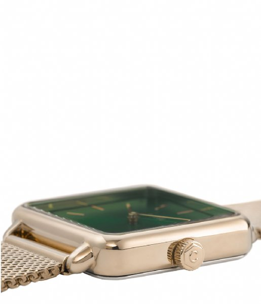 CLUSE Horloge La Tetragone Mesh Gold Plated gold plated forest green (CL60014)