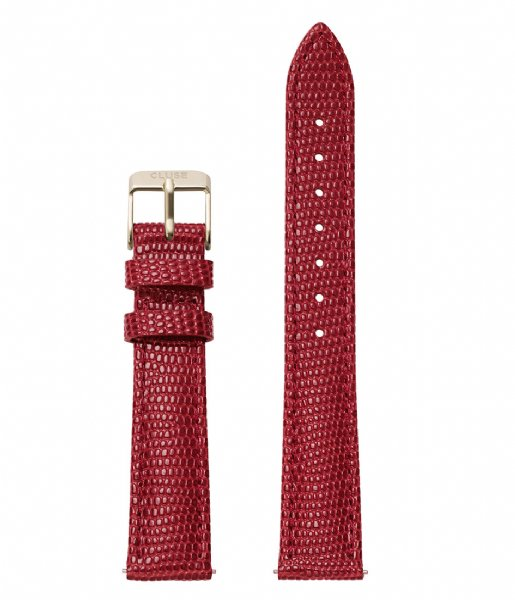CLUSE Horlogebandje Minuit Strap Deep Red Lizard deep red lizard gold plated (CLS382)