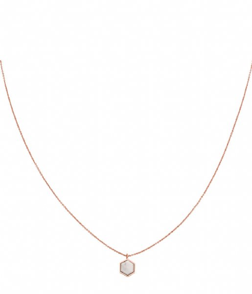 CLUSE Ketting Idylle Marble Hexagon Pendant Necklace rose gold plated (CLJ20008)