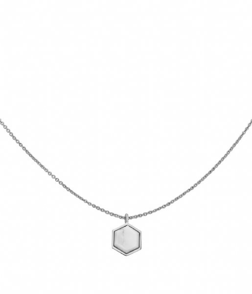 CLUSE Ketting Idylle Marble Hexagon Pendant Necklace silver plated (CLJ22008)