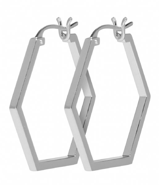 CLUSE Oorbellen Essentiele Hexagonal Hoop Earrings silver color (CLJ52004)