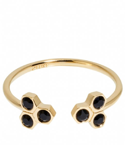 CLUSE Ring Essentiele Black Crystal Hexagons Open Ring gold plated (CLJ41008)