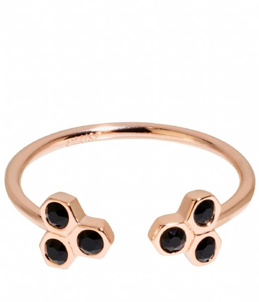 CLUSE Ring Essentiele Black Crystal Hexagons Open Ring rose gold plated (CLJ40008)