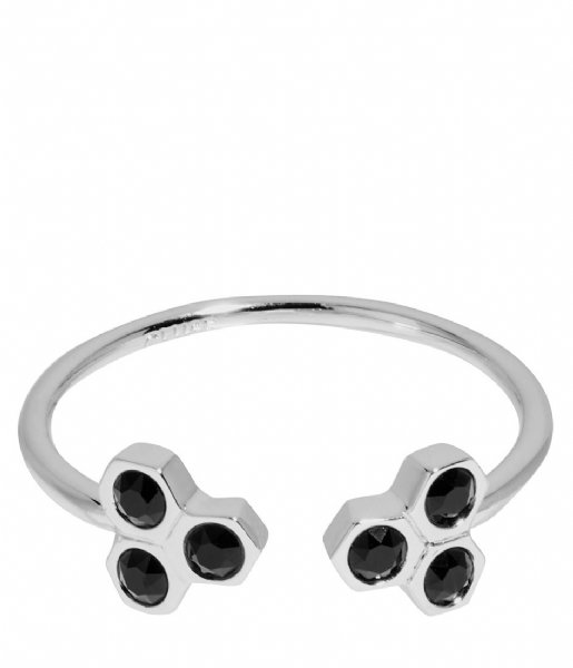 CLUSE Ring Essentiele Black Crystal Hexagons Open Ring silver plated (CLJ42008)
