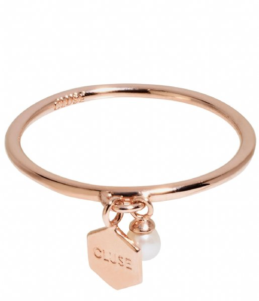 CLUSE Ring Essentiele Hexagon Pearl Charm Ring rose gold plated (CLJ40007)