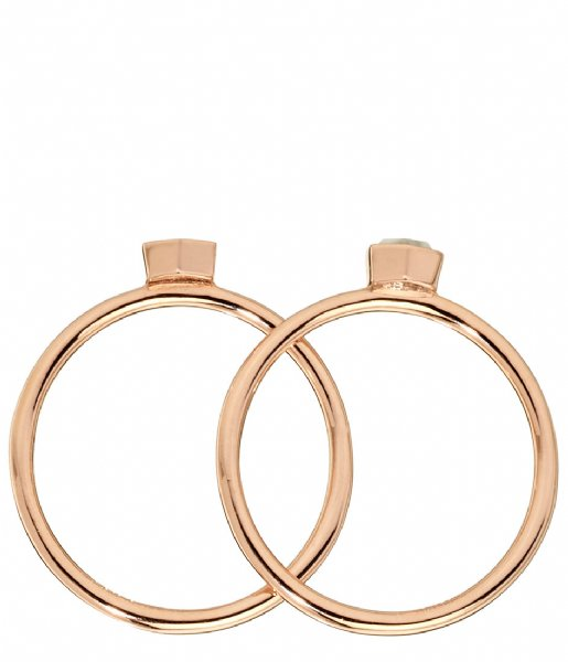 CLUSE Ring Idylle Solid Marble Hexagon Set of Two Rings rose gold plated (CLJ40001)
