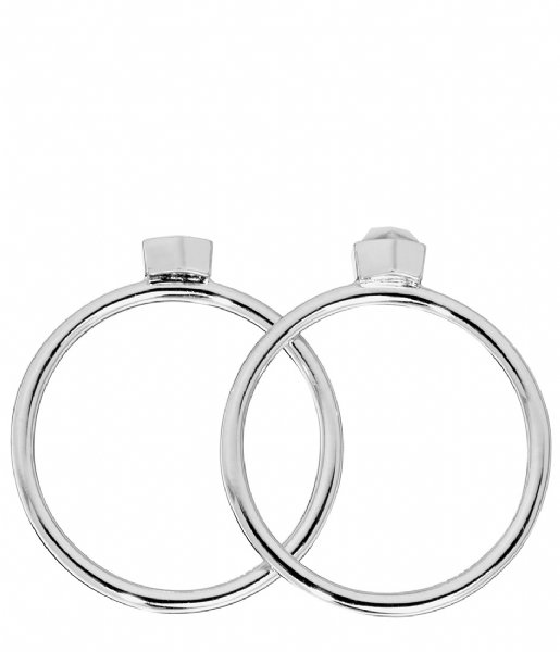 CLUSE Ring Idylle Solid Marble Hexagon Set of Two Rings silver plated (CLJ42001)