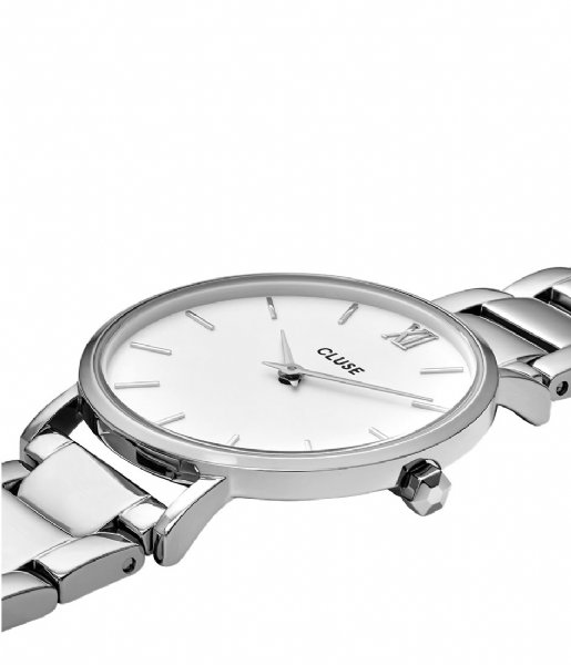 CLUSE Horloge Minuit Three Link Silver Colored White white silver colored (CW0101203026)