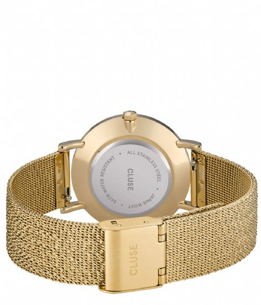 CLUSE Horloge Minuit Special Mesh Gold Plated Black Stardust Gift Box Gold plated black stardust & black leather strap