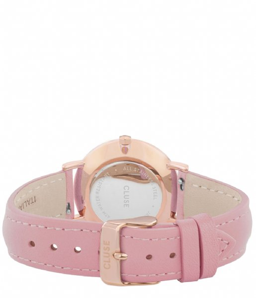 CLUSE Horloge Minuit Leather Rose Gold Plated White rose gold plated white pink (CW0101203006)