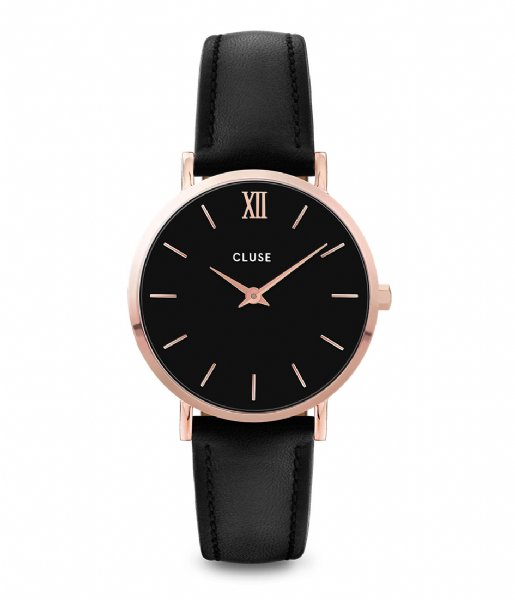CLUSE Horloge Minuit Leather Rose Gold Plated rose gold plated black (CW0101203013)