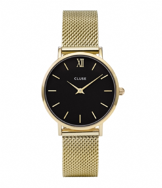 CLUSE Horloge Minuit Mesh Gold Plated Black black gold plated (CW0101203017)
