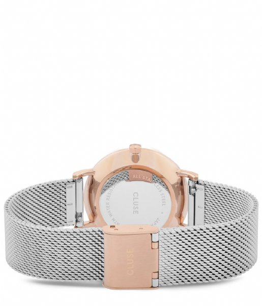CLUSE Horloge Minuit Mesh rose gold plated silver colored (CW0101203004)