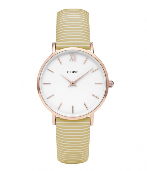 CLUSE Horlogebandje Minuit Strap Sunny Yellow Stripes sunny yellow stripes rosegold plated (CLS362)