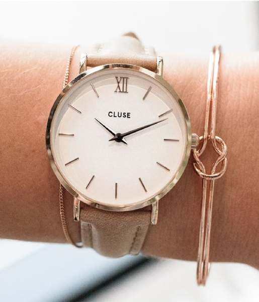 CLUSE Horloge Minuit Leather Rose Gold Plated White rose gold plated white hazelnut (CW0101203014)