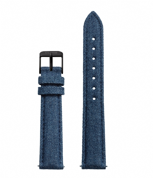 CLUSE Horlogebandje Minuit Strap Blue Denim blue denim & black (CLS353)