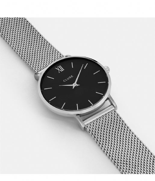 CLUSE Horloge Minuit Mesh Silver Colored Black black silver colored (CW0101203005)