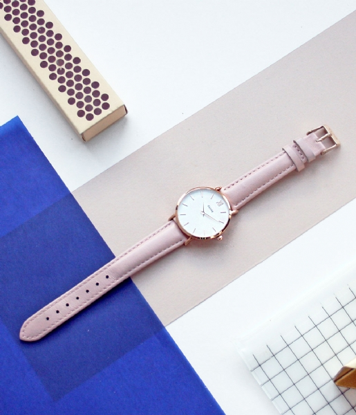 CLUSE Horloge Minuit Rose Gold Colored White white pink (CL30001/CW0101203006)