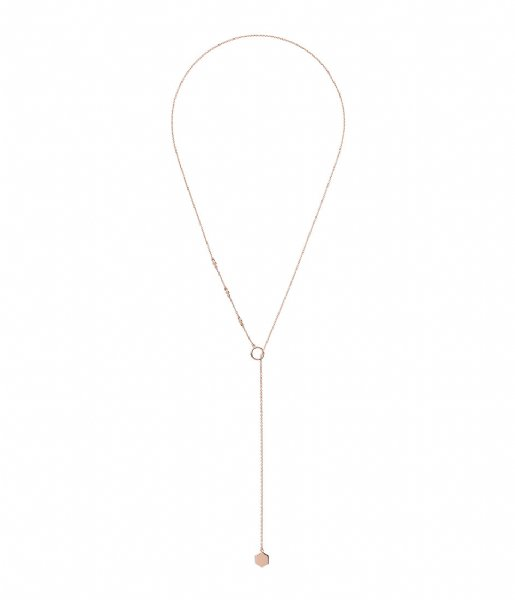 CLUSE Ketting Essentielle Hexagon Charm Lariat Necklace rose gold plated (CLJ20013)