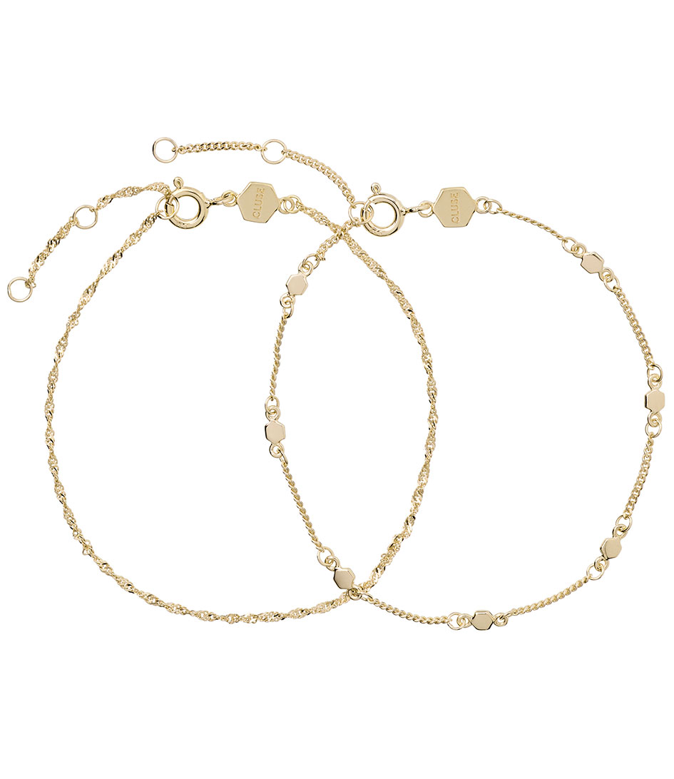 CLUSE Essentielle Set Of Two Twisted And Hexagon Chain Bracelet Goudkleurig