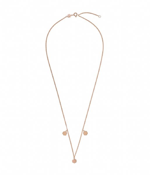 CLUSE Ketting Essentielle Three Hexagon Charms Necklace rose gold plated (CLJ20012)