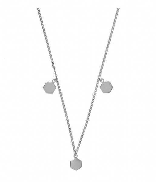 CLUSE Ketting Essentielle Three Hexagon Charms Necklace silver plated (CLJ22012)
