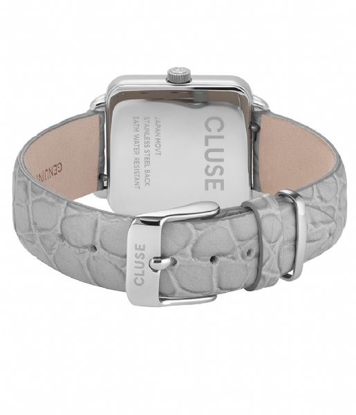 CLUSE Horloge Tetragone Silver Colored soft grey alligator (CL60018)