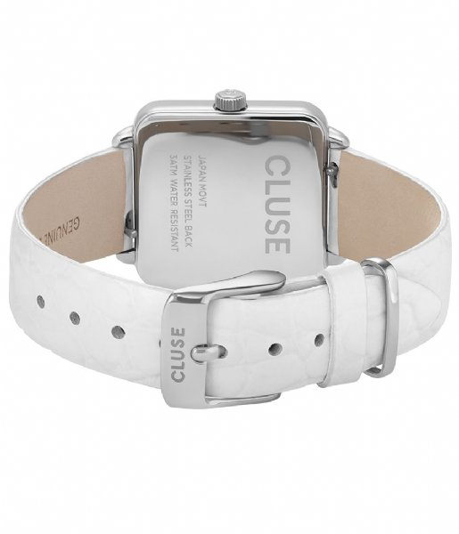 CLUSE Horloge Tetragone Silver Colored white alligator (CL60017)