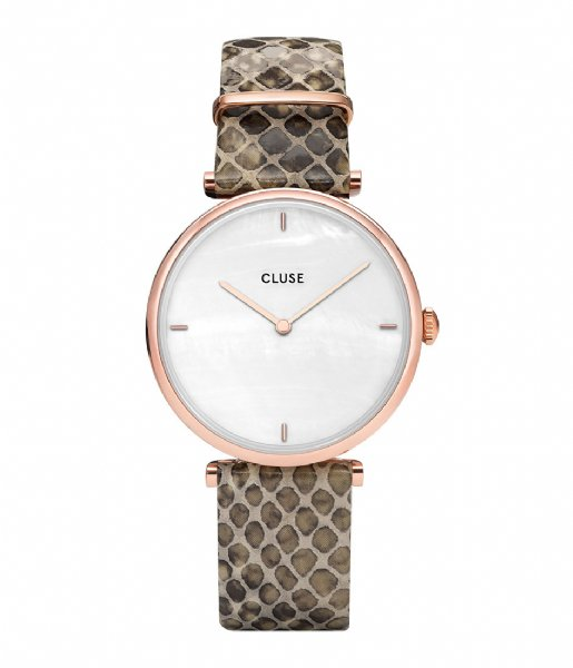 CLUSE Horloge Triomphe Rose Gold Plated White Pearl soft almond python (CL61007)