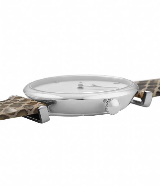 CLUSE Horloge Triomphe Silver Colored White Pearl soft grey python (CL61009)