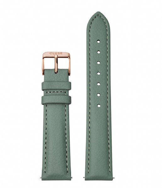 CLUSE Horlogebandje Strap 18 mm Leather Rose Gold Plated stone green (CS1408101087)