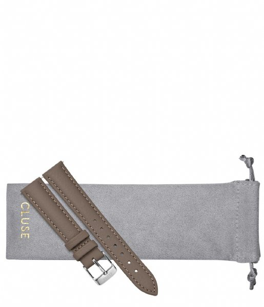 CLUSE Horlogebandje Strap 16 mm Leather Silver Plated taupe (CS1408101082)