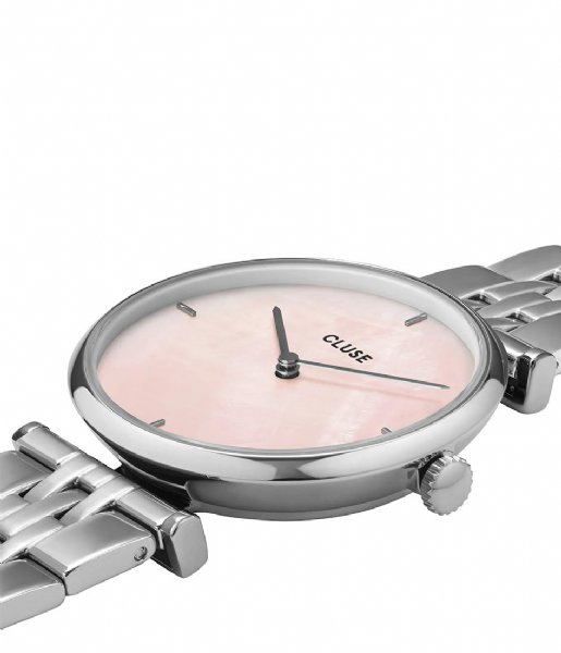 CLUSE Horloge Triomphe 5 Link Silver Plated Salmon Pink silver plated (CW0101208013)