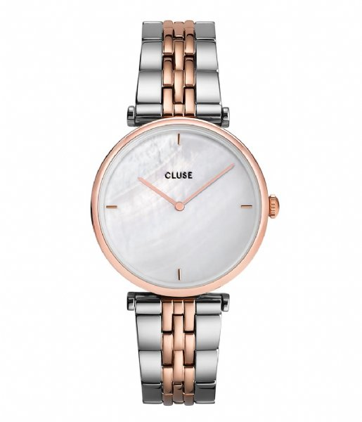 CLUSE Horloge Triomphe 5 Link Rose Gold Plated White Pearl rose gold plated (CW0101208015)