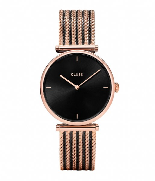 CLUSE Horloge Triomphe Mesh rose gold plated black (CW0101208005)