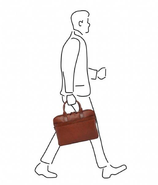 Castelijn & Beerens Laptop schoudertas Laptop Bag 15.6 Inch cognac