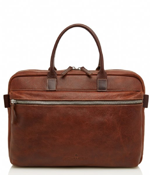 Castelijn & Beerens Laptop schoudertas Rein Laptop Bag 15.6 Inch light brown