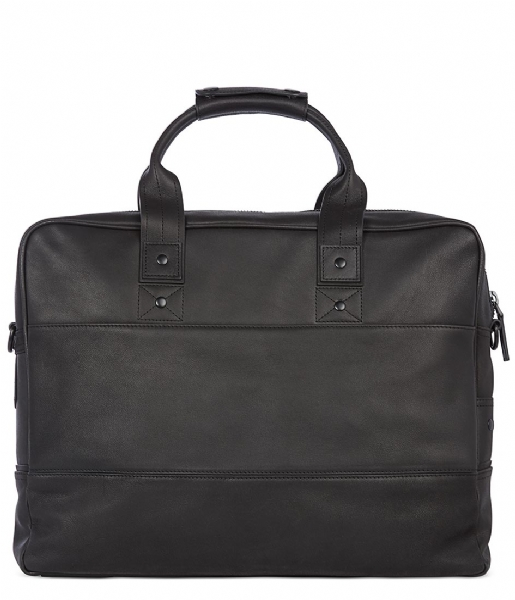 Decoded Laptop schoudertas Leather Briefcase 15 inch black