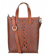 Fred de la Bretoniere Handbag M Python Perforated Nat Dyed Smooth Lt dark cognac