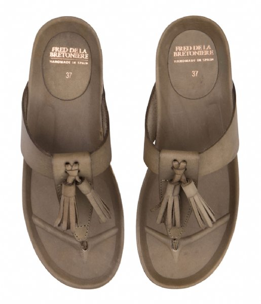 Fred de la Bretoniere Slippers Sandal Flip Flop Smooth smooth dark olive
