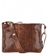 Fred de la Bretoniere Crossbody M Anaconda Printed Leather Brown