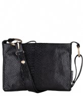 Fred de la Bretoniere Crossbody M Anaconda Printed Leather Black