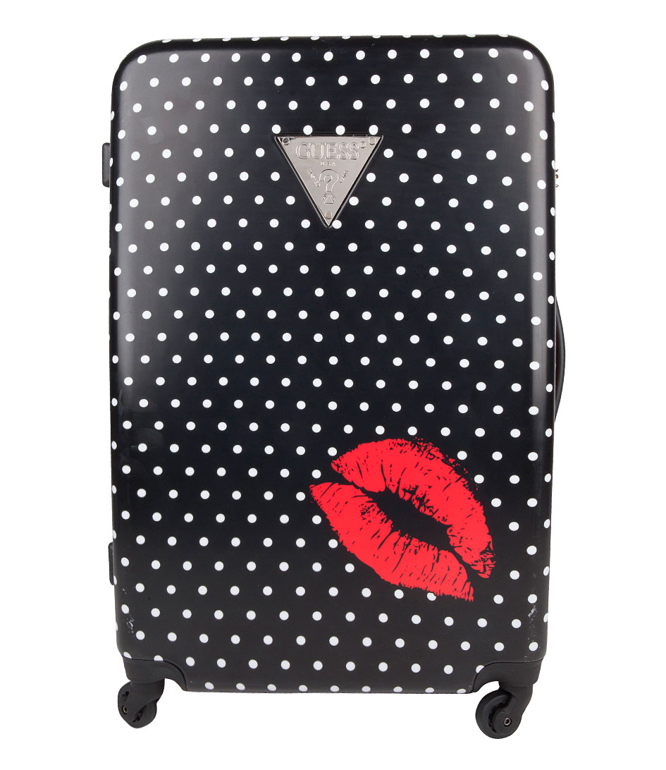 Polkadot 29 inch Large Suitcase black Guess | The Little