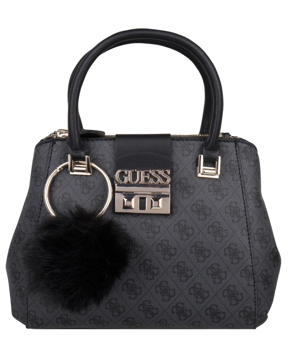 Logo Luxe Small Society Satchel coal Guess   The Little