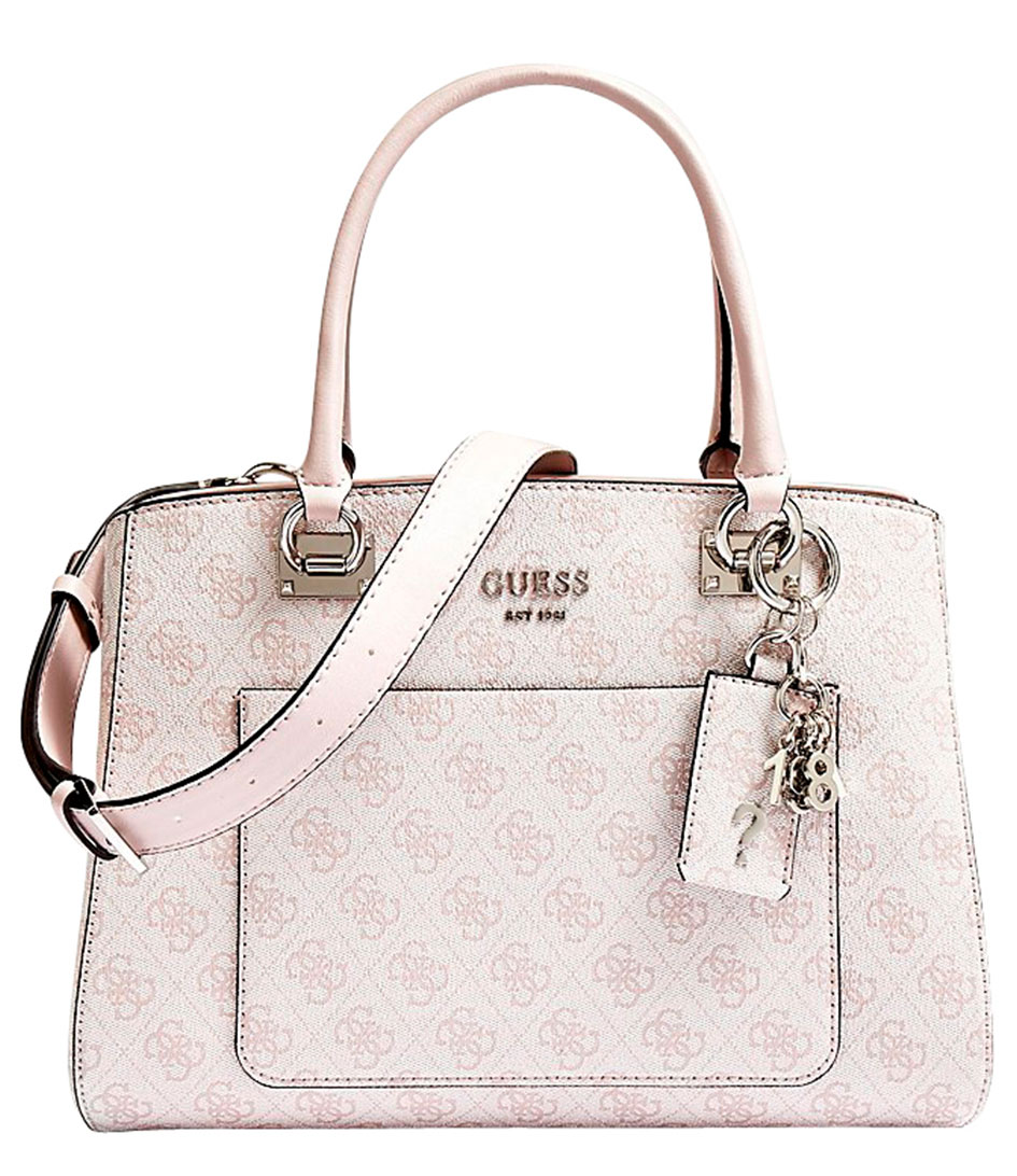 Kathryn Girlfriend Satchel blush Guess | The Little Green Bag