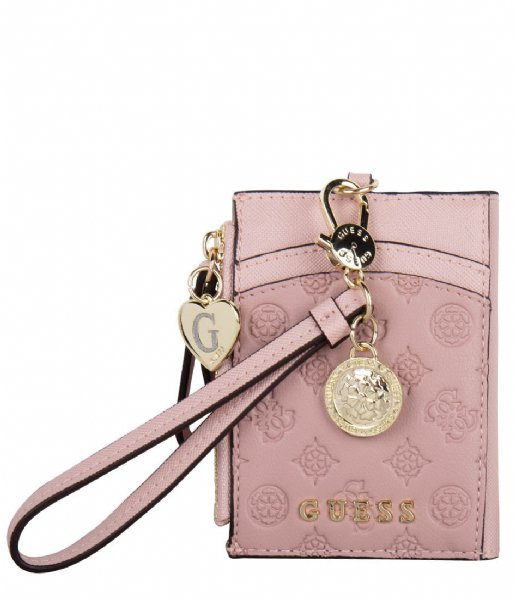 Guess Pasjes portemonnee Card Case With Keyring blush