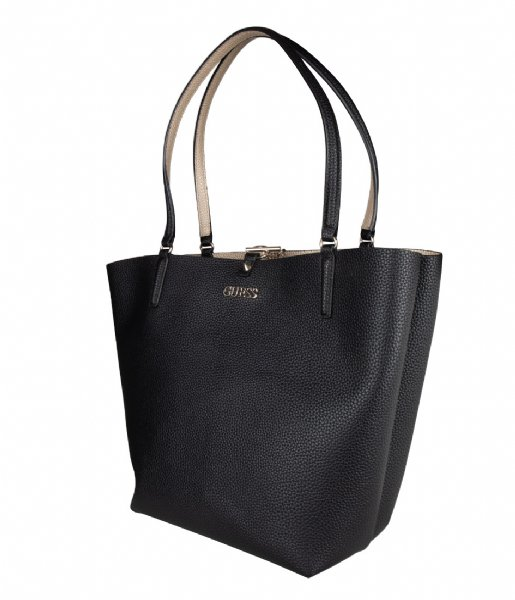 Alby Toggle Tote black gold Guess | The Little Green Bag