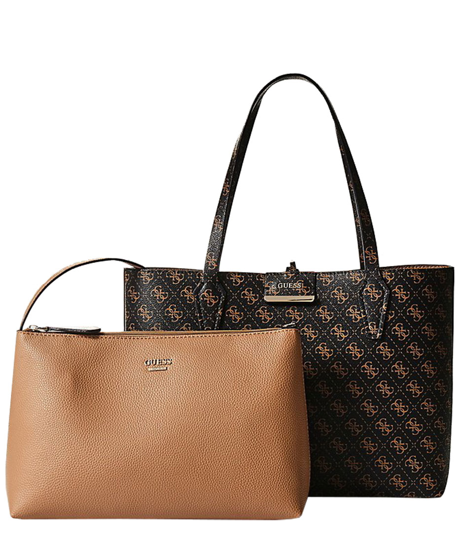 Bobbi Inside Out Tote browncamel Guess | The Little Green Bag