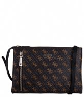 Guess Naya Double Zip Crossbody Brown Black
